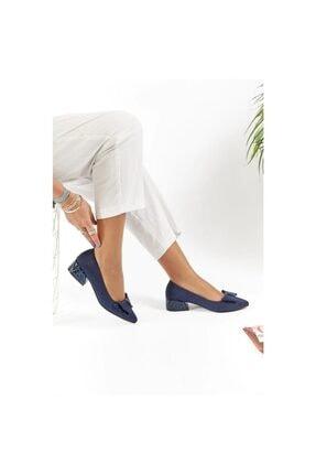 FORS SHOES Lacivert Lüx Süet Fiyonklu Klasik Kadın Ayakkabı Kısa Topuk 1