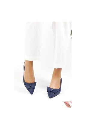 FORS SHOES Lacivert Lüx Süet Fiyonklu Klasik Kadın Ayakkabı Kısa Topuk 3