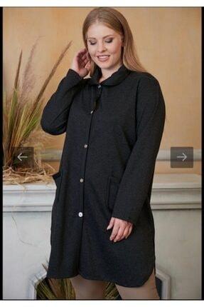 Kadın Siyah Cep Detaylı Büyük Beden Uzun Hırka resmi
