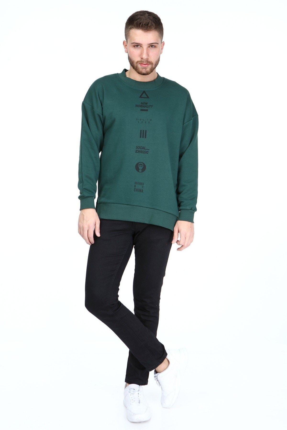 Millionaire Erkek Yeşil Nefti Yırtmaçlı Telefon Arkası Baskılı Oversize Sweatshirt