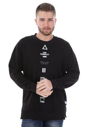 Millionaire Erkek Siyah Yırtmaçlı Telefon Arkası Baskılı Oversize Sweatshirt 1