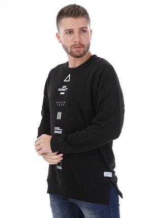 Millionaire Erkek Siyah Yırtmaçlı Telefon Arkası Baskılı Oversize Sweatshirt 2