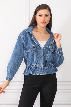Kadın Koyu Mavi Büzgülü Jean Kot Ceket BYZ12LBZGKT