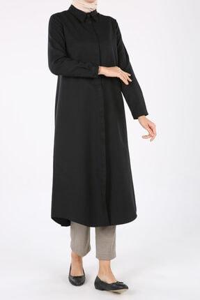 ALLDAY Kadın Siyah Pamuklu Uzun Gömlek 0