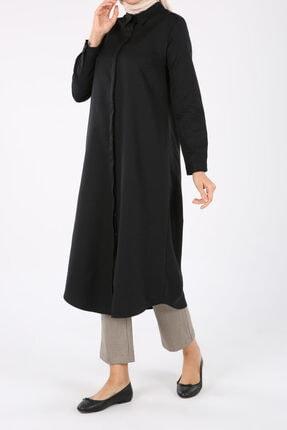 ALLDAY Kadın Siyah Pamuklu Uzun Gömlek 1