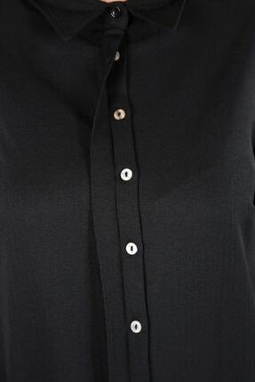 ALLDAY Kadın Siyah Pamuklu Uzun Gömlek 3