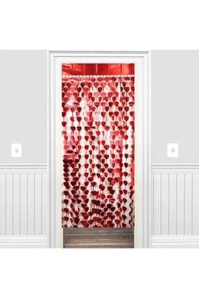 Süsle Baby Party Metalize Kalpli Kapı ve Fon Perdesi, 1 x 1,8 mt - Kırmızı 0