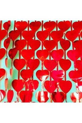 Süsle Baby Party Metalize Kalpli Kapı ve Fon Perdesi, 1 x 1,8 mt - Kırmızı 4