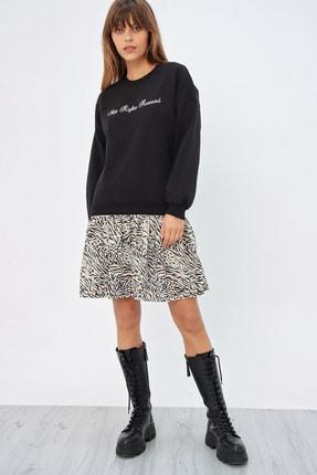 Ecrou Kadın Siyah Altı Fırfırlı Penye Sweat Elbise 1