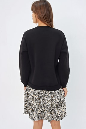 Ecrou Kadın Siyah Altı Fırfırlı Penye Sweat Elbise 3