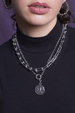 Sortie Aksesuar Kadın Gümüş Rengi Kombin Kolye 059 0