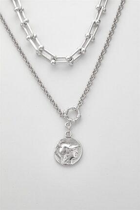 Sortie Aksesuar Kadın Gümüş Rengi Kombin Kolye 059 2