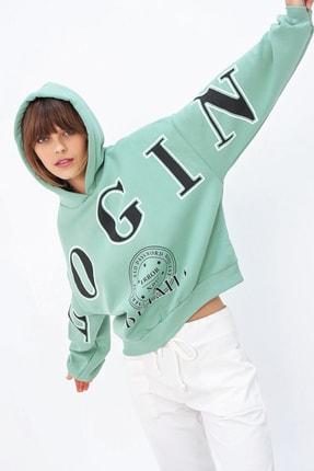 Ecrou Kadın Mint Login Kapşonlu Oversize Sweatshirt 1