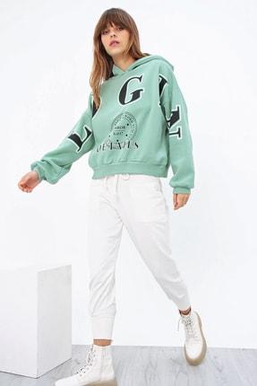 Ecrou Kadın Mint Login Kapşonlu Oversize Sweatshirt 2