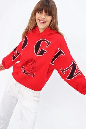 Ecrou Kadın Kırmızı Login Kapüşonlu Oversize Sweatshirt 0