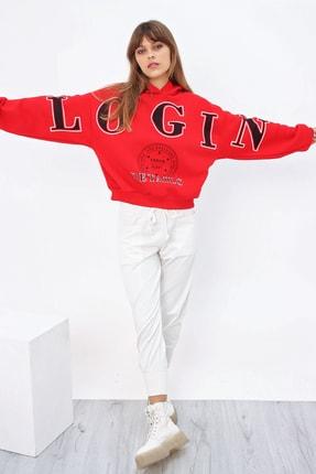 Ecrou Kadın Kırmızı Login Kapüşonlu Oversize Sweatshirt 2
