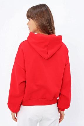 Ecrou Kadın Kırmızı Login Kapüşonlu Oversize Sweatshirt 3