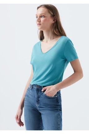 Mavi V Yaka Mavi Basic Tişört 1