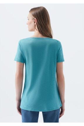Mavi V Yaka Mavi Basic Tişört 3