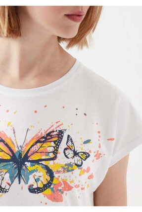Mavi Kelebek Baskılı Beyaz Tişört 4