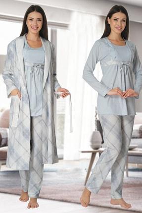 Effort Pijama Kadın Mavi Uzun Kollu Hamile Lohusa Sabahlıklı Pijama Takımı 8084 0