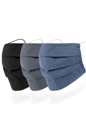 Mutlu Maske 3 Katlı Telli Siyah Gri Lacivert Renkli Pamuklu Bez Kumaş Yıkanabilir Yüz Maskesi 3'lü Set 0