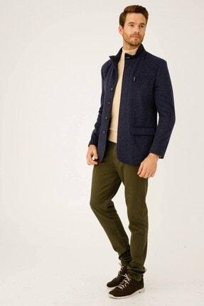 İgs Erkek Mavi Modern Fit Palto 4