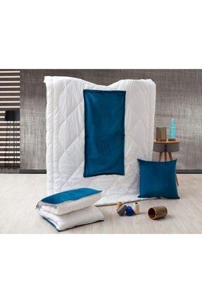 dhinchers Mavi Tek Kişilik Microfiber Kumaşlı Çok Amaçlı Sürpriz Yorgan (150x200) Yastık Sürpriz Yorgan 0