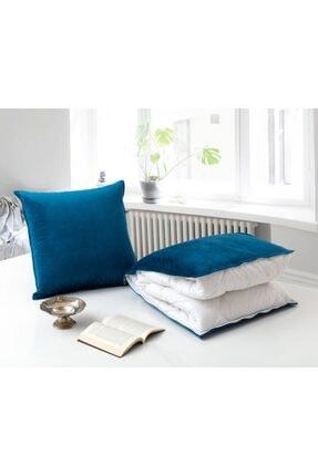 dhinchers Mavi Tek Kişilik Microfiber Kumaşlı Çok Amaçlı Sürpriz Yorgan (150x200) Yastık Sürpriz Yorgan 1
