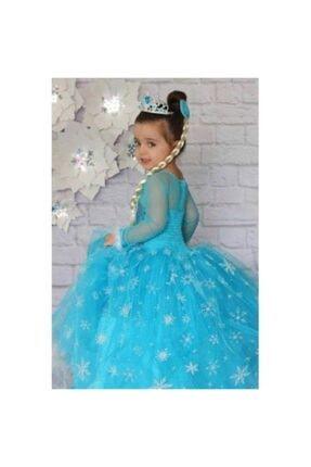 DUHATEKS Kız Çocuk Elbisesi Tarlatanlı Elsa Kostümü 1
