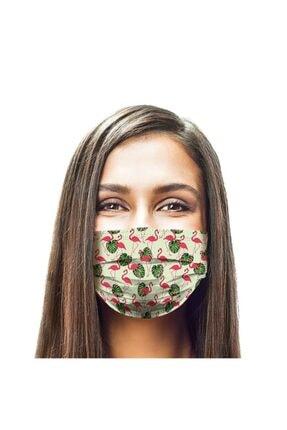 Puumask Yeşil Desenli Yikanabilir Telli Özel Kumaş Bez Maske 1