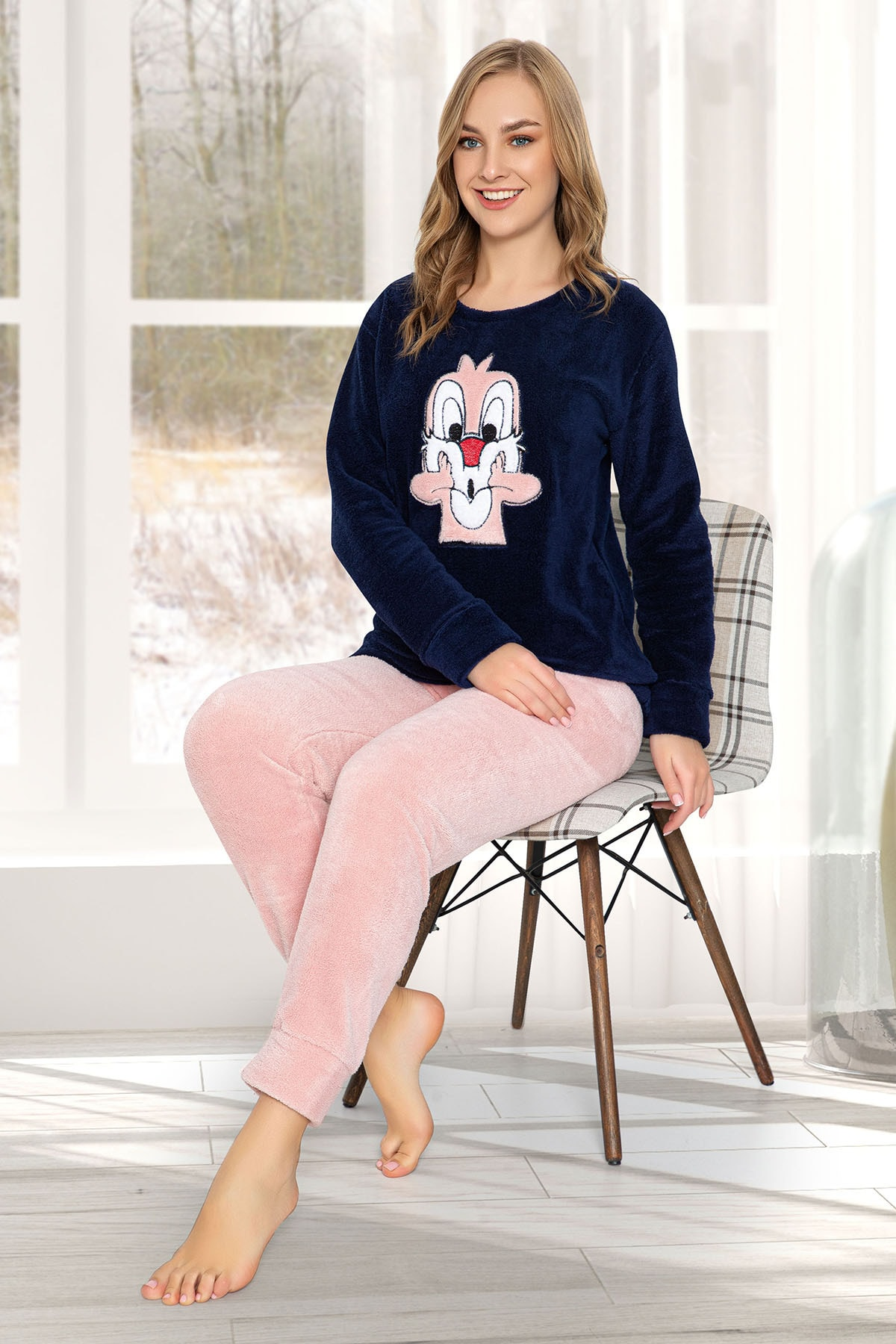 Strawberry Kadın Lacivert Welsoft Pijama Takim 0