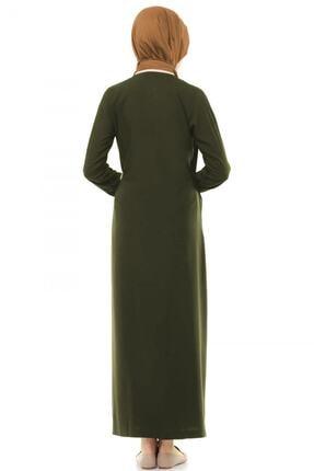 Esil Tesettür Kadın Haki Yandan Bağlamalı Namaz Elbisesi 2