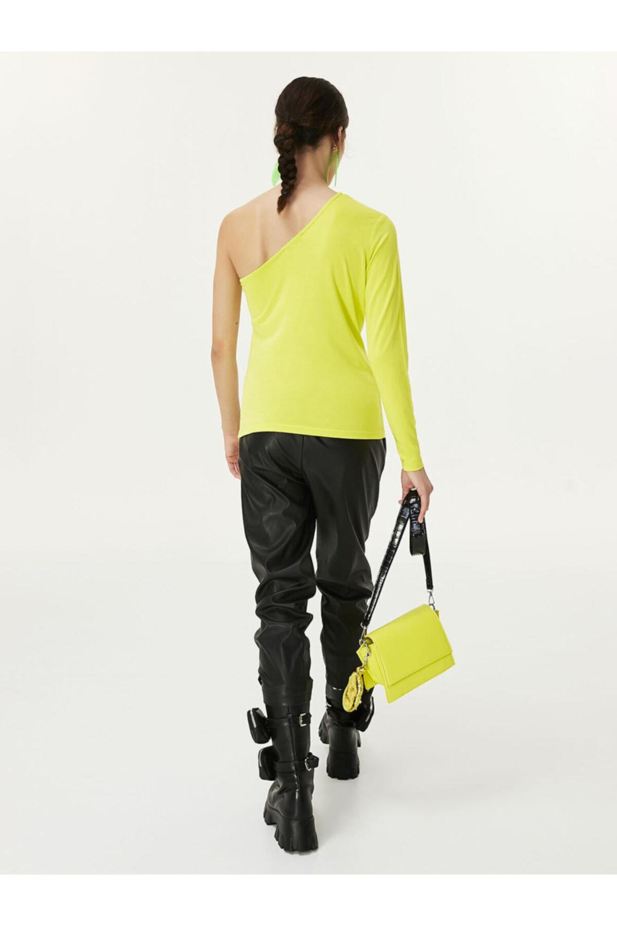 Twist Kadın Yeşil Tek Omuz Bluz