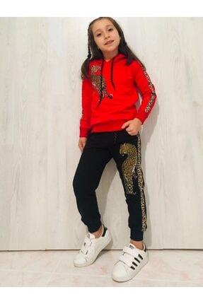 LEOPAR Kız Çocuk Kırmızı Desenli Kapüşonlu Takım 0