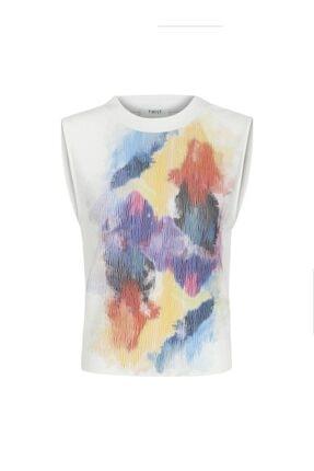 Twist Kadın Beyaz Baskı Detaylı Tshirt 4