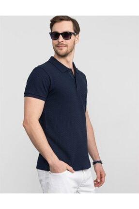 Tudors Slim Fit Kendinden Desenli Lacivert Pike T-shirt 1