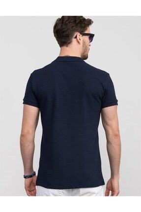 Tudors Slim Fit Kendinden Desenli Lacivert Pike T-shirt 2