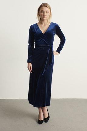 ELBİSENN Kadın Lacivert Kruvaze Yaka Kadife Elbise 2