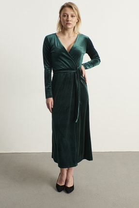 ELBİSENN Kadın Yeşil Kruvaze Yaka Kadife Elbise 1