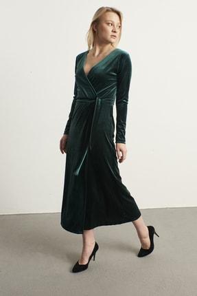 ELBİSENN Kadın Yeşil Kruvaze Yaka Kadife Elbise 2