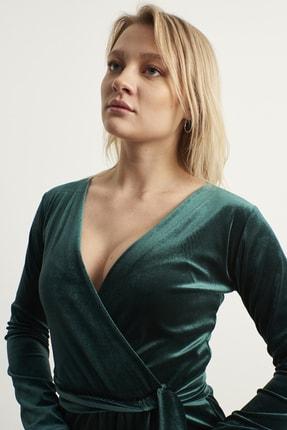 ELBİSENN Kadın Yeşil Kruvaze Yaka Kadife Elbise 3