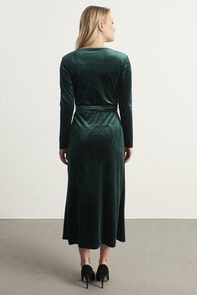 ELBİSENN Kadın Yeşil Kruvaze Yaka Kadife Elbise 4