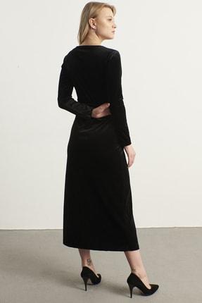 ELBİSENN Kadın Siyah Kruvaze Yaka Kadife Elbise 3
