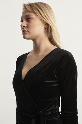 ELBİSENN Kadın Siyah Kruvaze Yaka Kadife Elbise 4