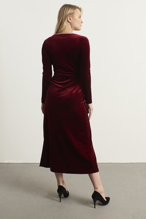 ELBİSENN Kadın Bordo Kruvaze Yaka Kadife Elbise 3