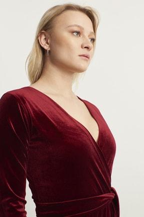 ELBİSENN Kadın Bordo Kruvaze Yaka Kadife Elbise 4