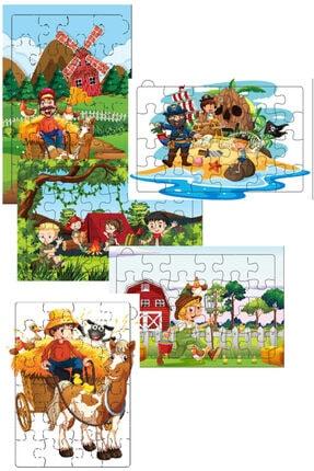 Redro Home 5'li Ahşap Puzzle Set 24 Parça Çiftlik 0