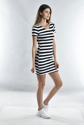 Cotton Mood Kadın Sıyah Beyaz Kalın Çizgili Kaşkorse Arkası Çapraz Biyeli Kısa Kol Elbise 1