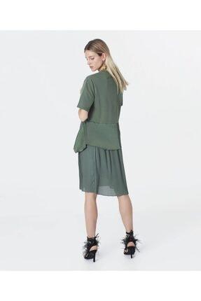 İpekyol Kadın Haki Kumaş Mixli Sweat Elbise 3
